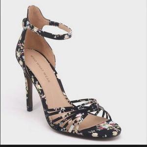 Black Spring Floral Knotted Heels/Sandals-7.5